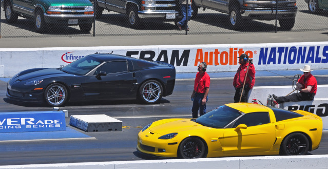 photo of cars drag racing at Infineon Raceway